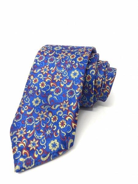 Cravatta blu elettrico - Fantasia floreale - Gogolfun.it