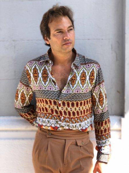 Camicia uomo, viscosa, fantasia uomo - collo classico -colore-beige