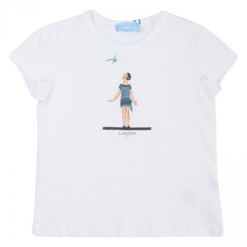 Maglietta bianca, bambina - Lanvin - Abbigliamento bambini - Gogolfun.it