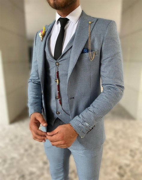 Elegancki garnitur męski - Siwy - Trzyczęśsciowy - Made In Italy - gogolfun.it