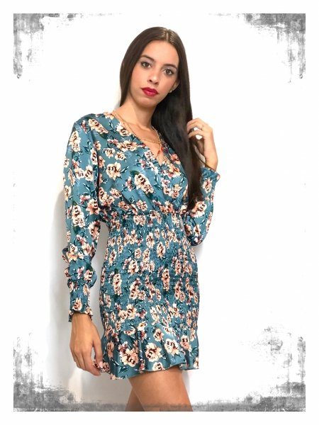 Vestito corto elegante a fiori - Giorgia - Negozio online - gogolfun.pl