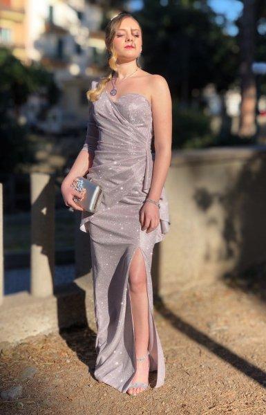Vestito lungo elegante - Tessuto brillantinato - Collezione abiti da cerimonia