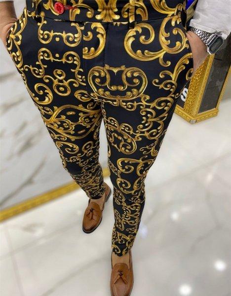 Pantaloni uomo particolari, Eleganti neri - Nero ed oro - Gogolfun.it