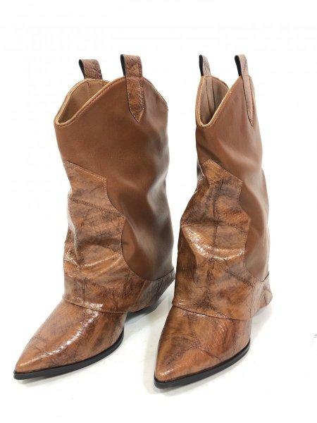 Stivali texani, cuoio - Scarpe donna marroni - Negozio gogofun.it