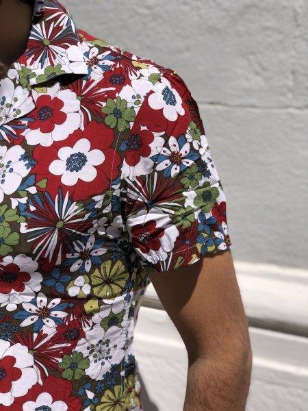Koszula w Kwiaty - Męska - Krótkie rękawy - Key Jey - Koszule męskie - Gogolfun.pl