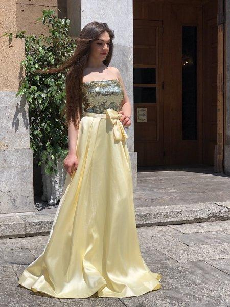 Vestito elegante - Abito giallo - Long dress - Gogolfun.it