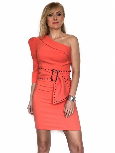 Sukienki kròtkie - Sukienka na jedno ramię - Gogolfun.it
