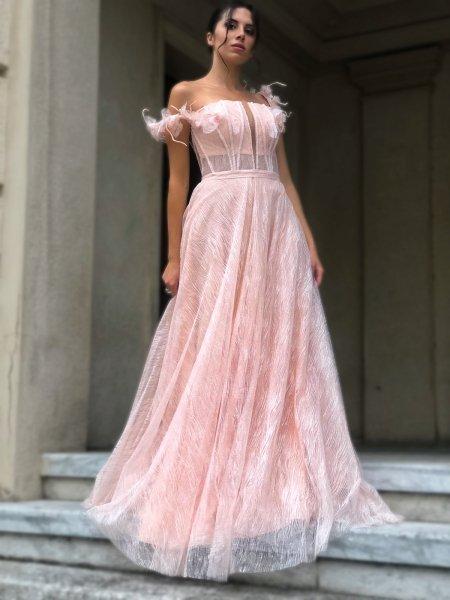 Vestito lungo elegante, rosa - Corpetto decorato - Diciottesimo - Vestiti rosa - Gogolfun.it