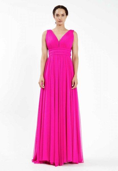 Vestito lungo elegante, fuxia - In tulle - Vestito rosa - Gogolfun.it