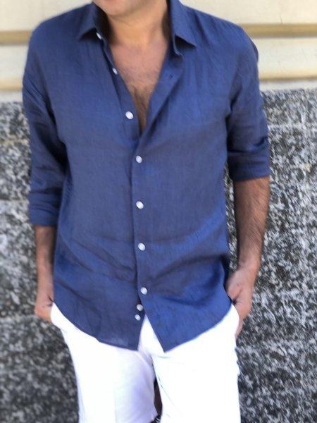 Camicia uomo in lino - Blu - Gogolfun.it