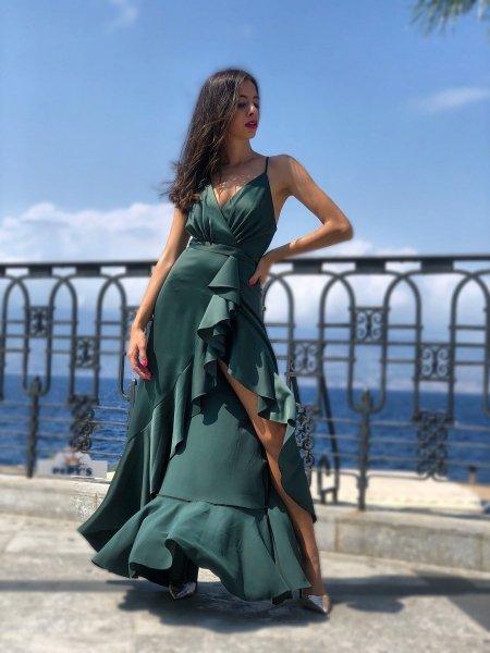 Abito elegante donna - Vestito verde - Vestito in Raso verde - Gogolfun.it