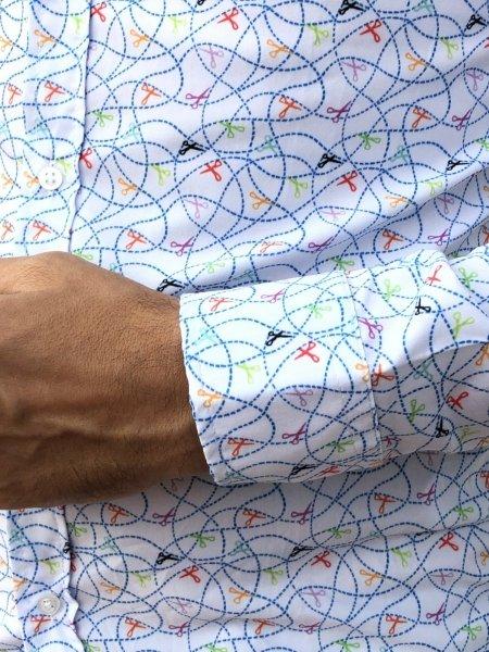 Camicie - Camicia bianca con fantasia-  Negozio di camicie Gogolfun.it