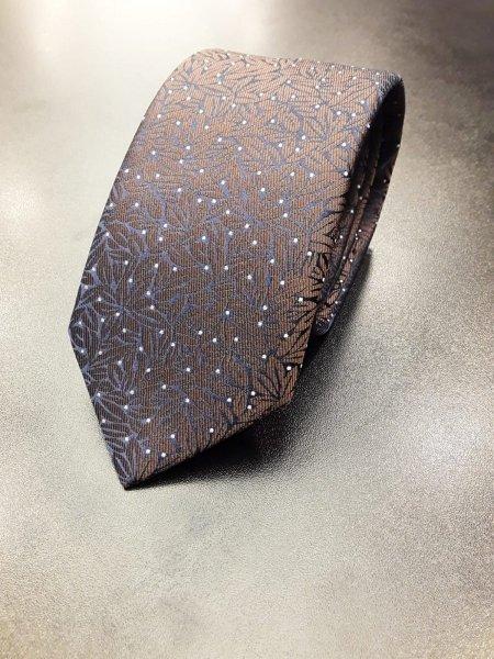 Cravatta uomo, puntinata - Base blu con marrone e puntini bianchi - Gogolfun.it