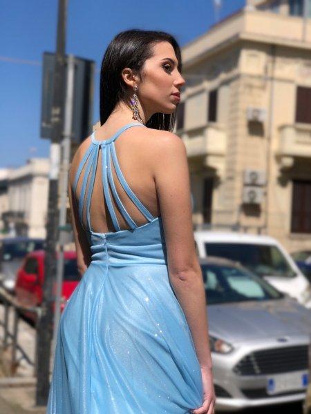 Abito donna azzurro, schiena scoperta - Tessuto luccicoso - Abiti da cerimonia - Gogolfun.it