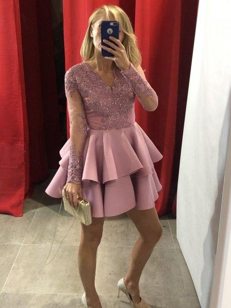 Elegancka kótka sukienka damska - Pudrowy róż - Made in Italy - Sklep internetowy - Gogolfun.pl