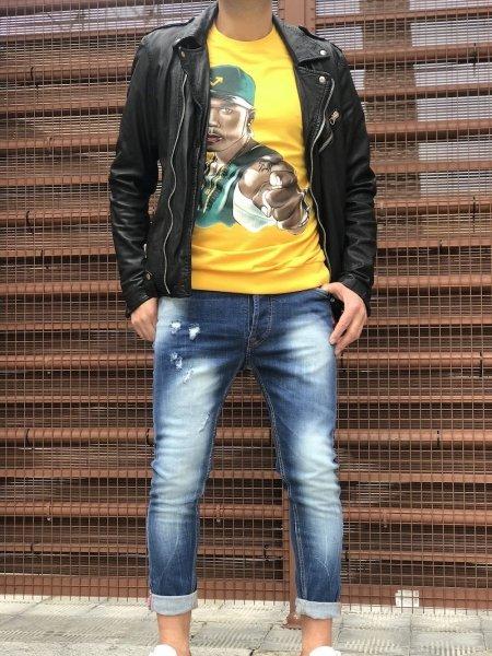 Felpa, gialla manica lunga con 50 cent - Sweater, 50 cent - Gogolfun.it