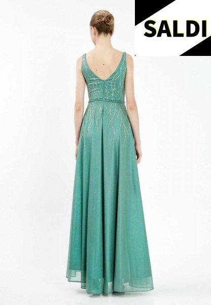 Vestito elegante - Lungo - Con spacco - Verde