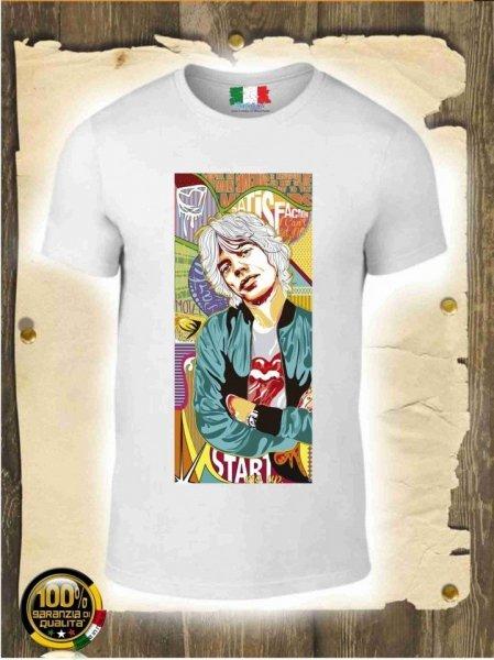 T shirt Mick Jagger - Maglietta Bianca - Gogolfun.it