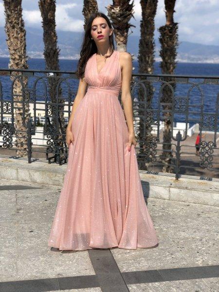 Vestito rosa cipria - Per diciottesimi - Abiti cerimonia donna - Gogolfun.it