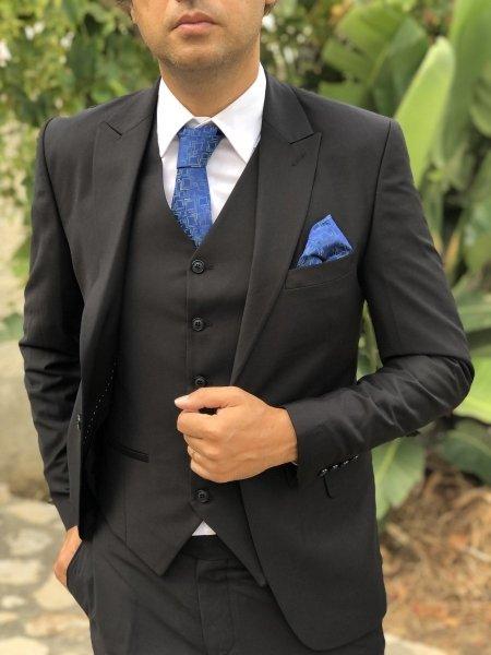Abito uomo elegante, con gilet - Colore nero, microfantasia - Gogolfun.it