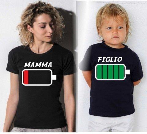 T-shirt mamma e figlio - Magliette abbinate - Low Battery - Gogolfun.it