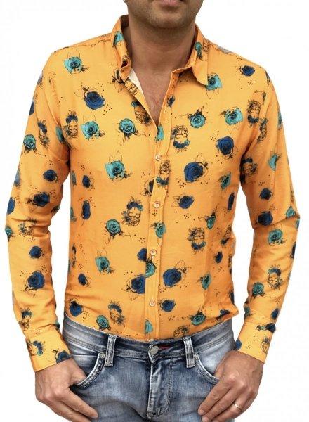 Camicia particolare con teschi - Gialla - Manica lunga - Gogolfun.it
