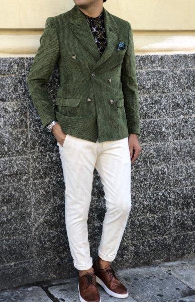 Dwurzędowa męska marynarka - Model slim - Zielona - Made in Italy - Odzież męska - Gogolfun.pl