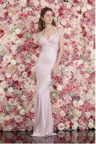 Vestito da damigella - Abito elegante sirena - Rosa - Cipria - Gogolfun.it