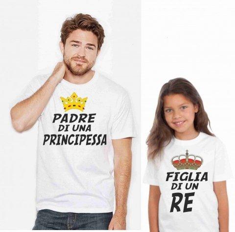 Maglietta papà figlia - Bianca - Gogolfun.it
