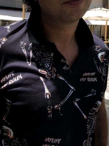Polo uomo - Nera - Fantasia con teschi - Abbigliamento uomo - Gogolfun.it