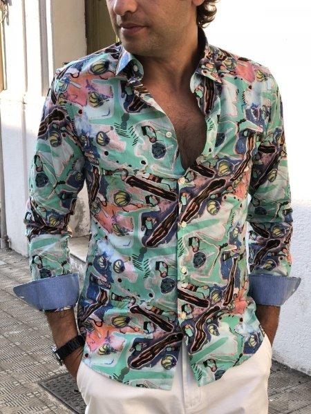 Camicia uomo particolare, verde tiffany - Fantasia estiva