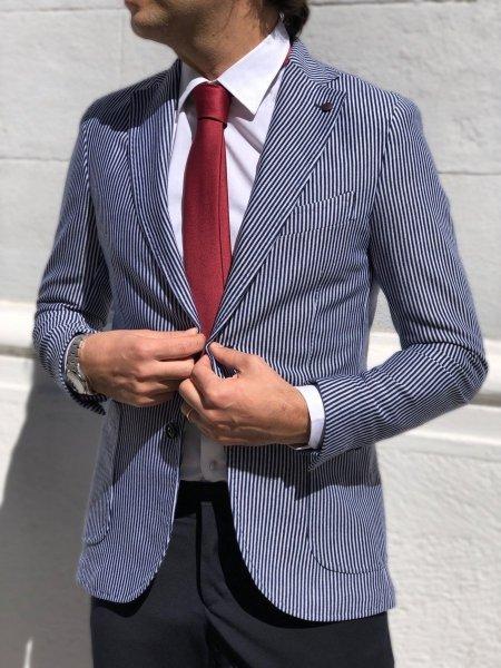 Giacca uomo,  righe bianche e blu - Vestibilità slim - Paul Miranda - Gogolfun.it