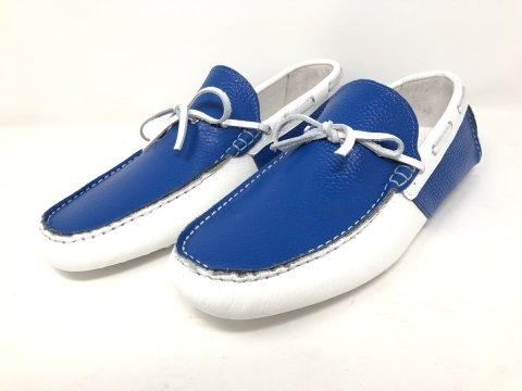 Męskie mokasyny – model żeglarski – niebiesko białe– Obuwie męskie - Gogolfun.pl