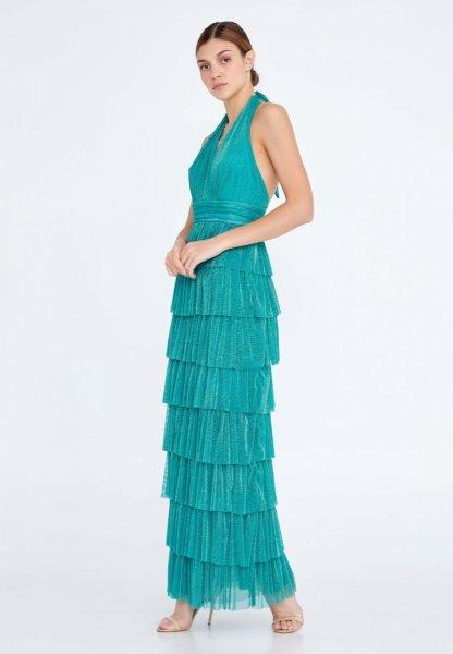 Vestito elegante lungo - Verde - Brillantinato - Vestito elegante verde - Gogolfun.it