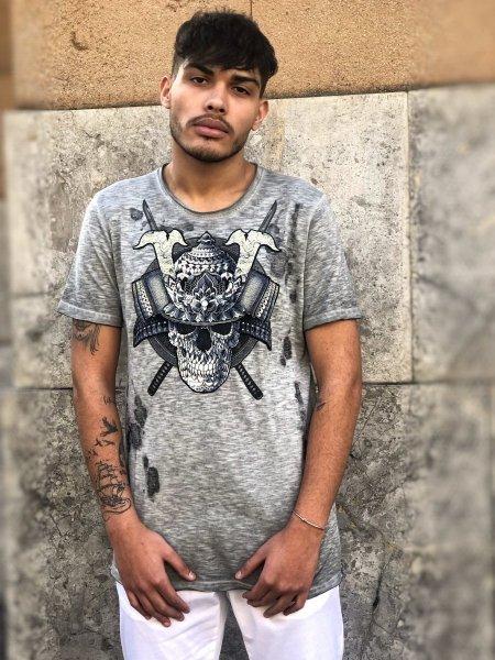 Maglietta uomo  King - Tshirt grigia con stampa