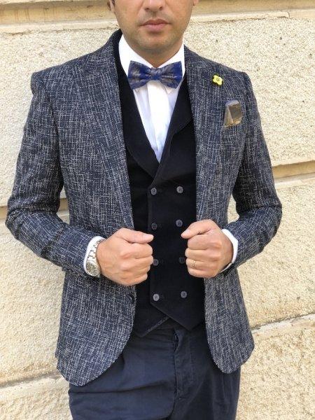 Kamizelka męska, dwurzędowa - ciemnoniebieska - Slim - Made in Italy - Odzież męska - Gogolfun.pl