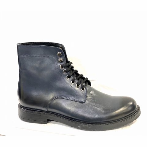 Stivaletto blu black, allacciato vera pelle - Scarpe uomo gogolfun.it