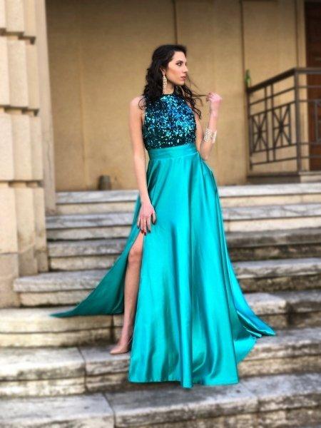 Vestito lungo elegante, verde - Con spacco - Cerimonia donna - Abiti cerimonia economici - Gogolfun.it