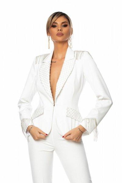 Tailleur bianco - Elegante - Con applicazioni - Tailleur eleganti - Gogolfun.it