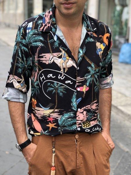 Camicia uomo nera, hawaiana - Abbigliamento uomo - Camicie uomo - gogolfun.it