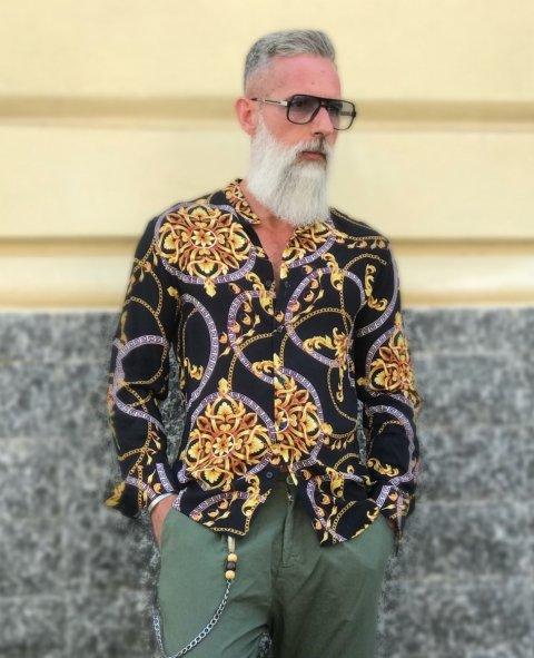 Camicia uomo fantasia - Stampa Versace - Manica lunga - Camicie uomo - Gogolfun.it