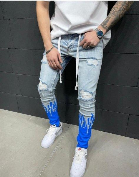 Jeans uomo skinny - Con fiamme blu - Abbigliamento online - Gogolfun.it
