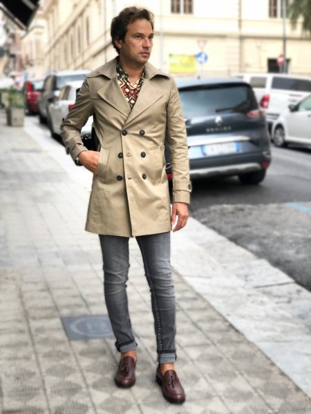 Trench, slim -  Trench uomo beige - Impermeabile beige - Abbigliamento online gogolfun.it