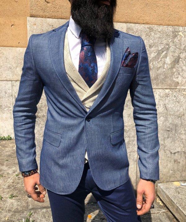 Giacca uomo blu - Giacche slim fit - Abbigliamento uomo - Gogolfun.it
