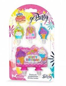 Świeczki urodzinowe Happy Birthday ciastka muffink