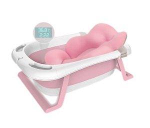 Wanienka składana dla dziecka z termometrem i poduszką różowa