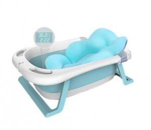 Wanienka składana dla dziecka z termometrem i poduszką niebieska