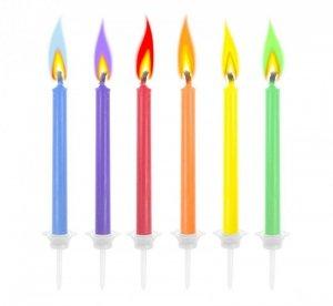 Świeczki urodzinowe z kolorowym płomieniem 6szt.