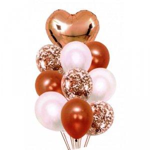Balony z sercem i konfetti 30-46cm 10szt golden rose