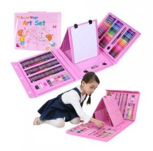 Zestaw plastyczny do malowania w walizce 208el różowy